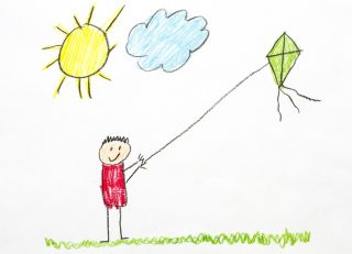 crayon drawing of child flying a kite