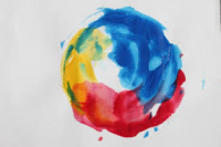 primary colors painted circle